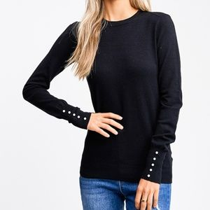 Long Sleeve Sweater Shirt with Pearl Detail